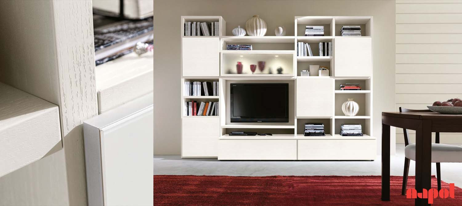 Modular White Living Room Furniture Wall System