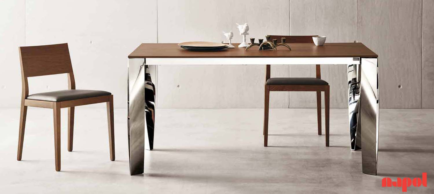 Extending dining table with chromed steel legs : Desi 4 from romacasa.co.za size 1500 x 670 jpeg 86kB