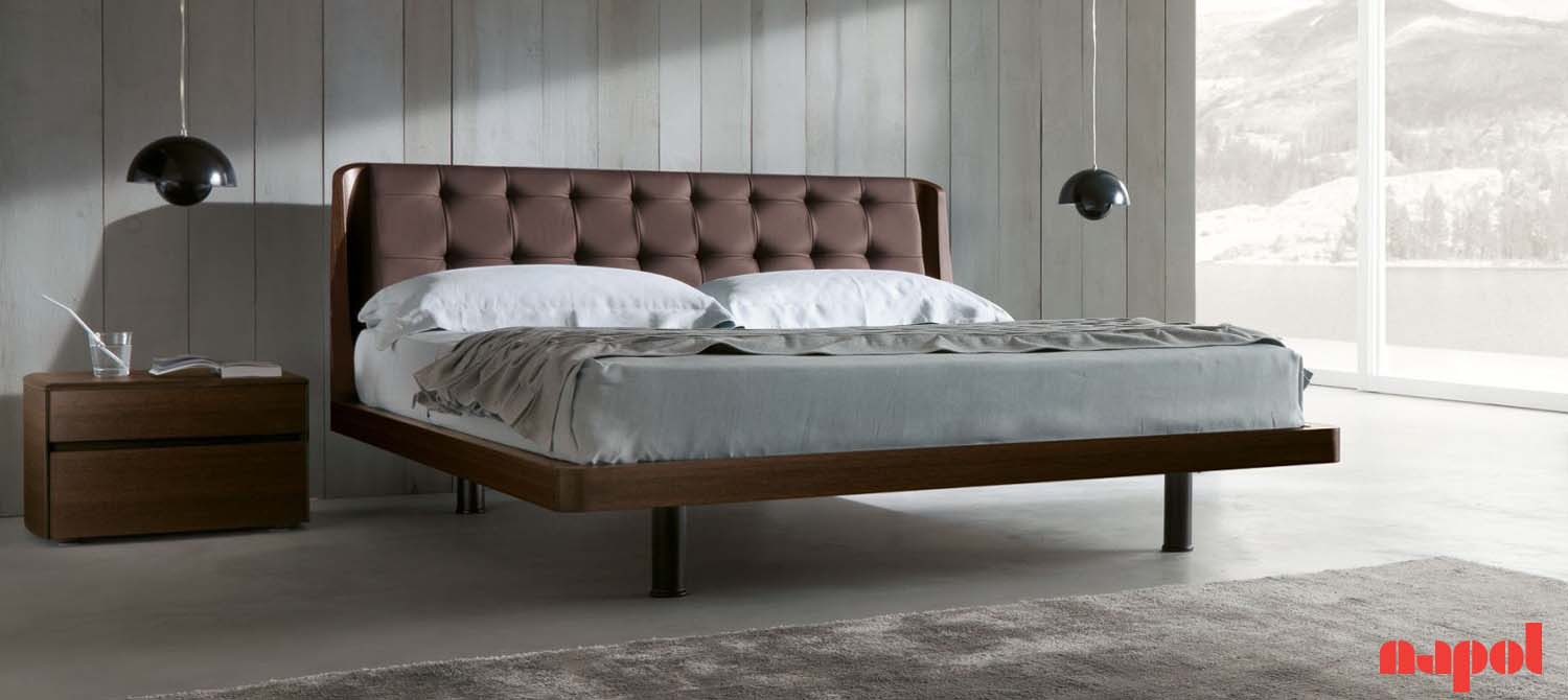 orion wooden bed with eco-leather uphostered headboard