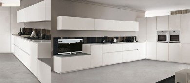 Plus minimal gloss white lacquered kitchen