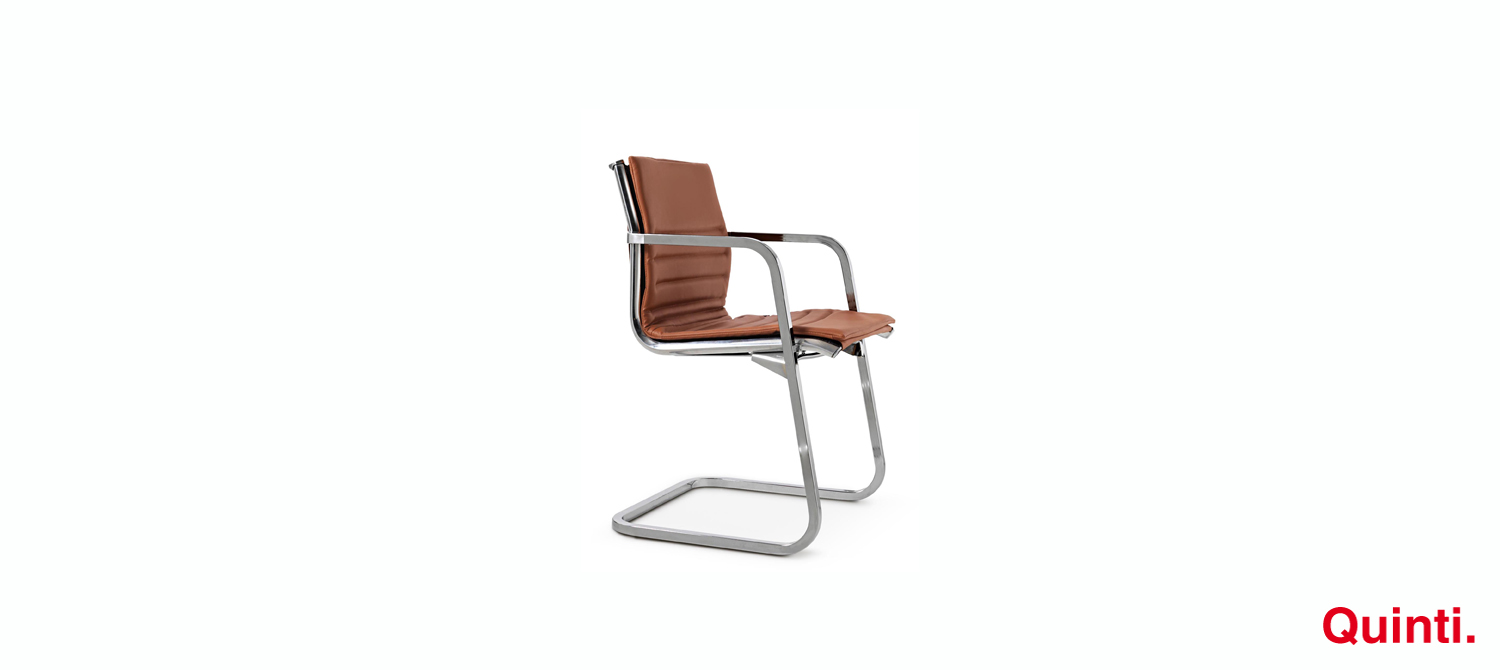 Quinti Aluminia Slim Visitors chair with Armrests & Cantilever base Slider