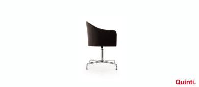 Quinti Orange Visitors chair with Armrests & Retro Base Slider