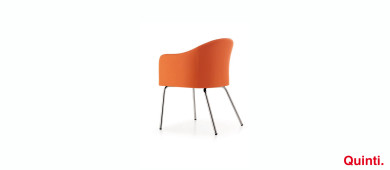 Quinti Orange Visitors chair with Chrome legs Slider