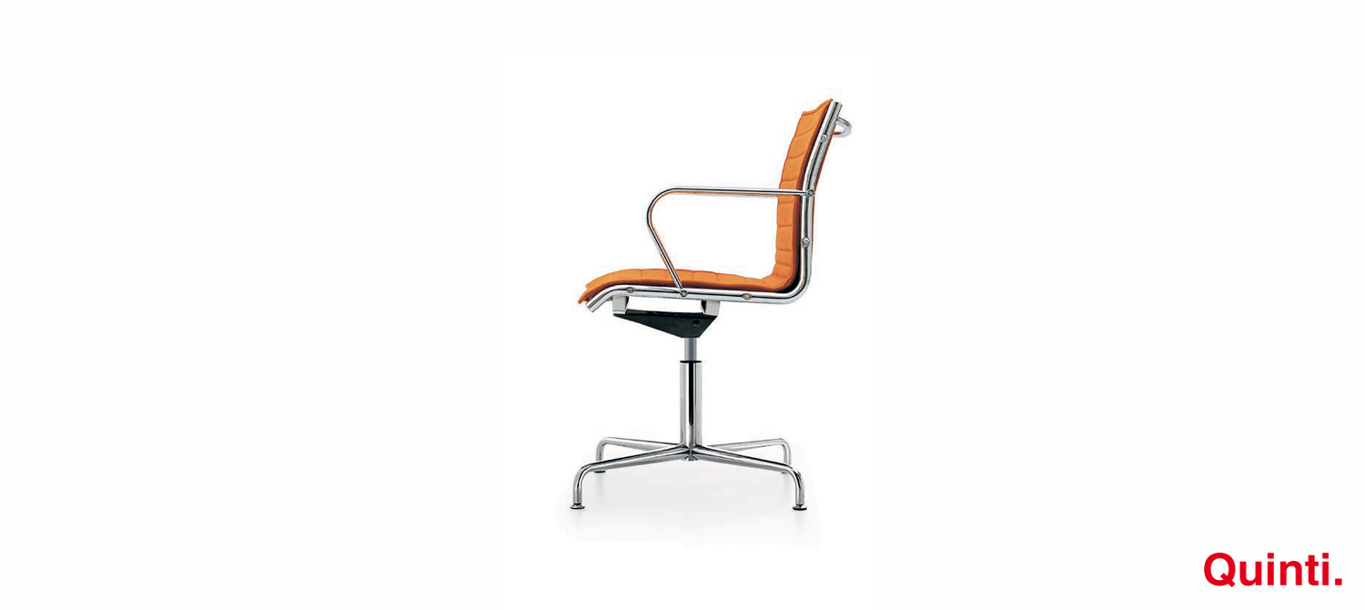Quinti Season Slim Visitors chair with Armrests & Retro base Slider
