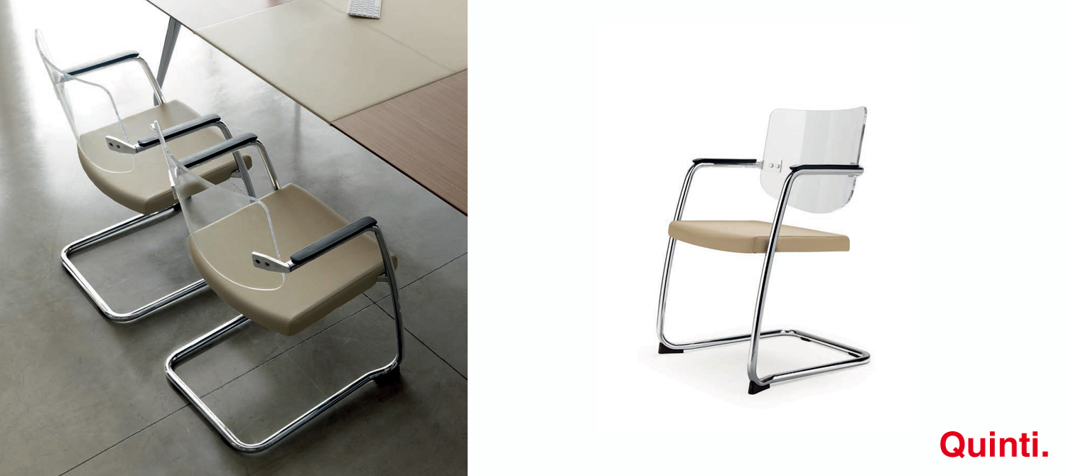 Quinti Spring Visitors chair with Methacrylate back Slider