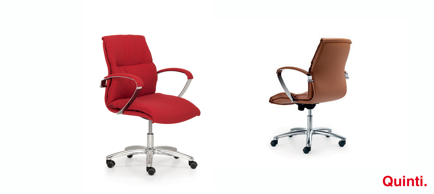 Quinti Urania Cromo Low back with Armrests & Arco base Slider